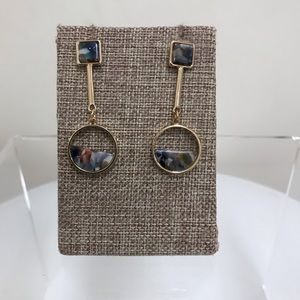 NWT Hush Gold Multicolor Circle Drop Earrings